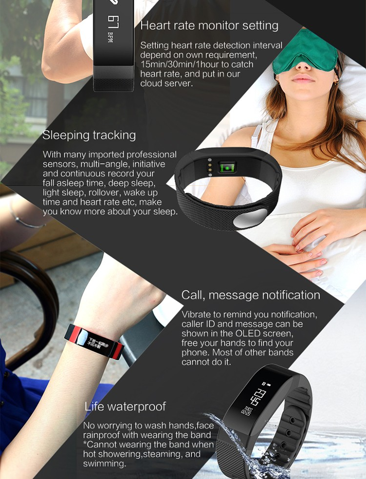 SMA Coach smart band dynamic heart rate monitor in real-time and 8 colors Breathing LED design