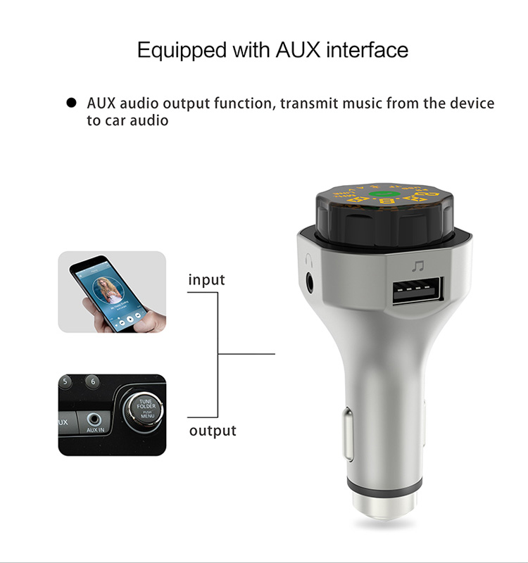 GXYKIT AP06 auto bluetooth 4.2 handsfree USB TF card Aux car mp3 player fm transmitter with 3.1A charging port