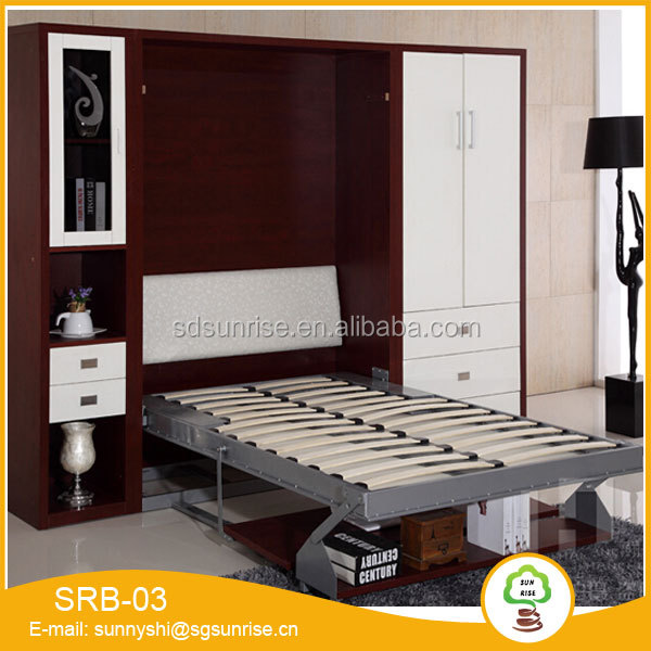 Modern Wall bed Furniture Space saving murphy single wall bed with Computer table