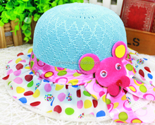 Baby straw hat, sun hat with dots, child beach hat with bowknot