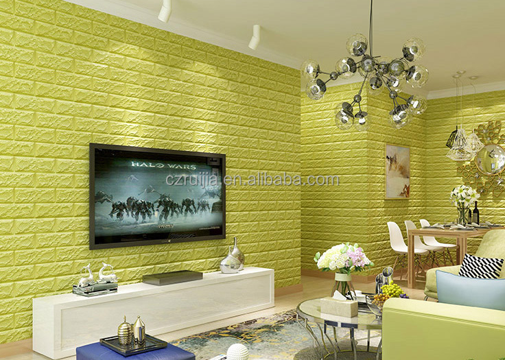 2016 waterproof soundproof 3D PE foam brick wall sticker, self adhesive decorative wallpaper