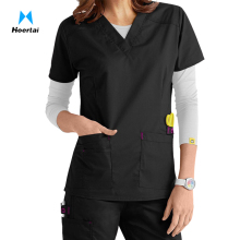Cheap Cotton Nursing Medical Uniform Stretch V-neck Scrub Tops