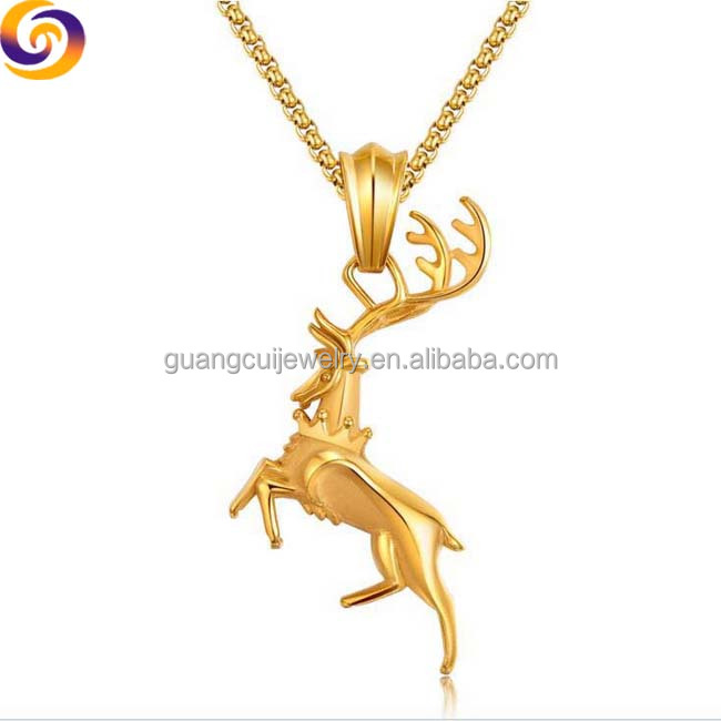 Stainless steel Christmas gift Sika elk deer womens jewelry necklace