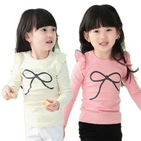 2015 Wholesale Beautiful Long Sleeve Girls Kids T Shirt With Lace