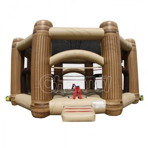 Cheap inflatable moonwalk bounce combo with basketball hoop, inflatable bouncer for sale