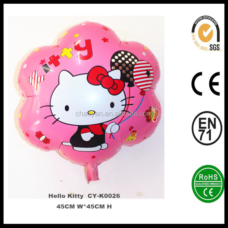 Wholesale Cheap Price Flower Shape Inflatable Helium Hello Kitty Foil Balloons