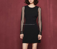 China Guangzhou clothing OEM rounded neckline long sleeves straight cut day and night Short women dress with trompe-loeil effect