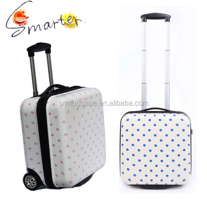 Spots Printed Small Trolley Luggage Bag For Laptop With 2 Wheels ...