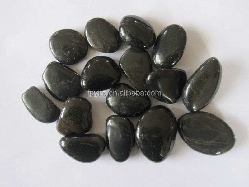 landscaping pebbles polished black stone