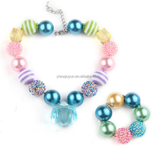 Kids Fashion Necklace Candy Colorful Chunky Beads Rhinestone Balls Bubblegum Necklace Blue Water Drop Pendant Necklace