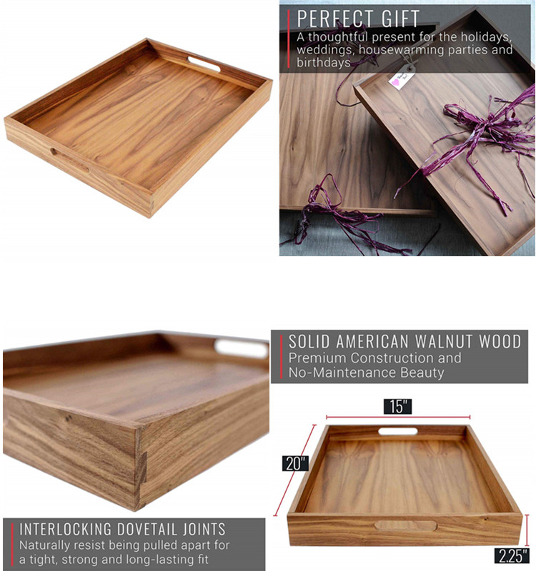 Unfinished  Wood Food Serving Tray With Handles