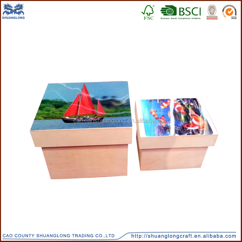 High quanlity and lovely 3d wood ornament storage box, art minds wooden box
