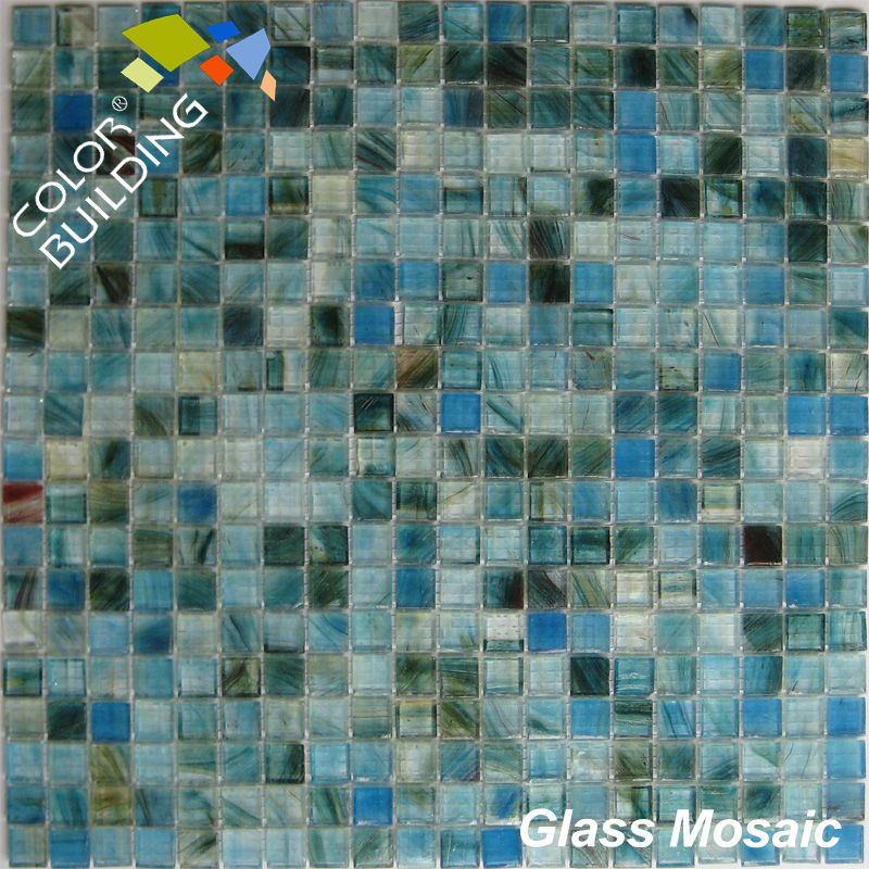 blue and green sea glass tile