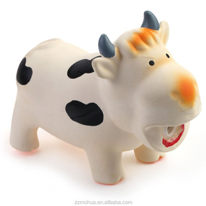 hot selling natural rubber latex cow shape squeaky chew dog toy in pet toys manufacturer