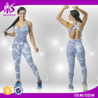 2016 guangzhou shandao new arrival printed cotton summer women sexy running gym jumpsuit