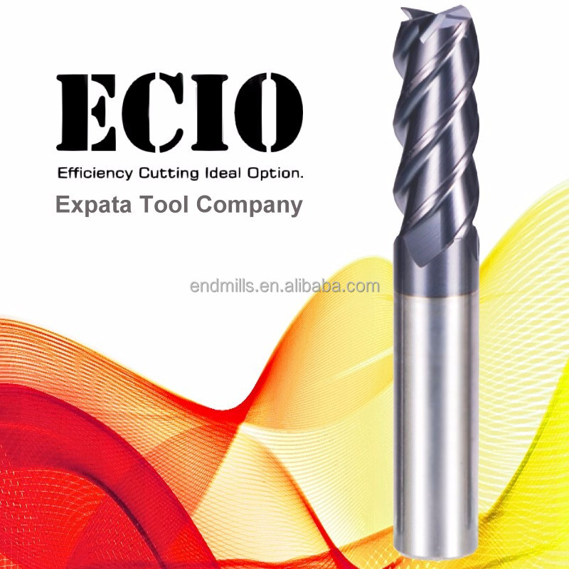High quality 4 flutes square carbide end mill cutting tool with ALTiN coating