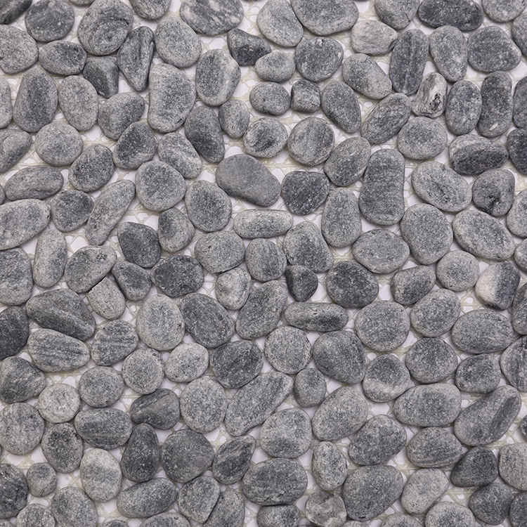 Cobble Decorative Flat Round Natural Stone Flooring Black Cobblestone Blue River Color Coloured Glass Cheap Pebble Tile