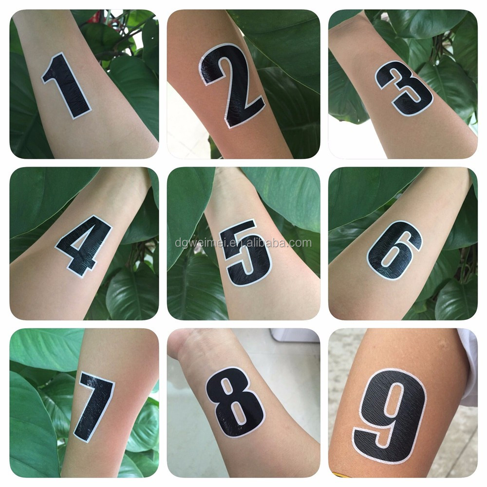 Water Transfer Code Nine Bicycling Number Temporary Body Tattoos