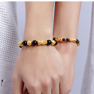 The mythical wild animal imitation gold bracelet with female 3 d solid gold transport bead bracelet inlaying 999 men gold male s