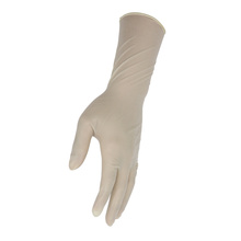 Latex free straight finger single use wet donning medical rubber glov