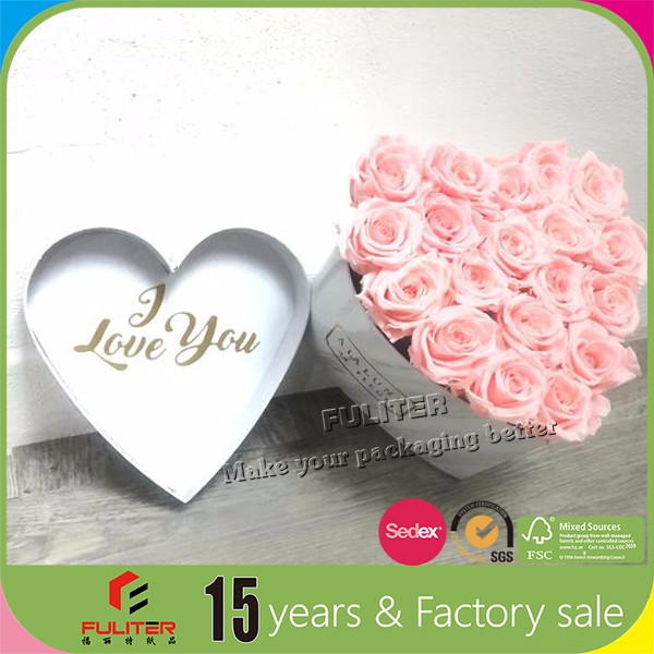 Marble texture heart shaped gift box packaging for flowers