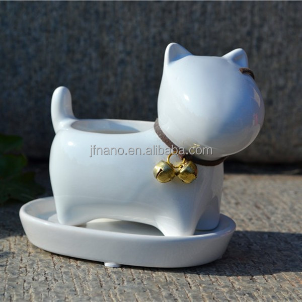 Cute dog succulents flower pots small white animal ceramic planter