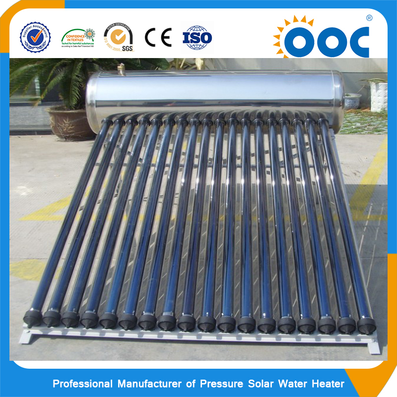 Solar geysers energy systems compact pressurized vacuum tube heat pipe solar water heater