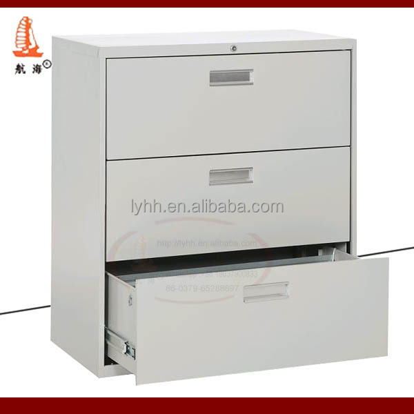 Super good quality office furniture index card lockable lateral 3 drawer metal file cabinet