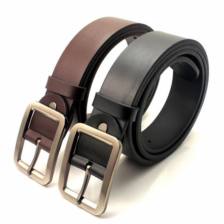 Brown embossed cow hide leather belt for men