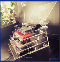 Clear acrylic cosmetic makeup organizer acrylic makeup storage box with colorful diamond handle