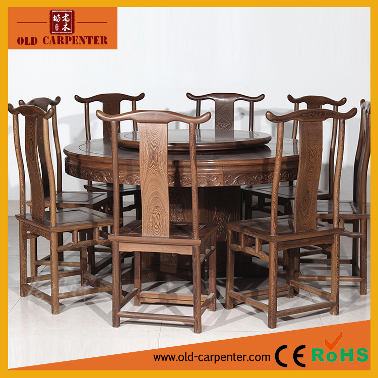 2017 Modern design dining room furniture nine piece in one set wood dining table set