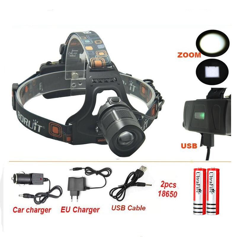 Boruit headlight XM-L <strong>L2</strong> 1800lm waterproof LED 5 Modes Charging headlight for Cell phone with DC / USB Interface +charger