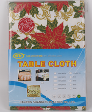 Christmas style plastic tablecloth with flannel
