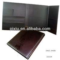 Handmade pu leather folding file folder