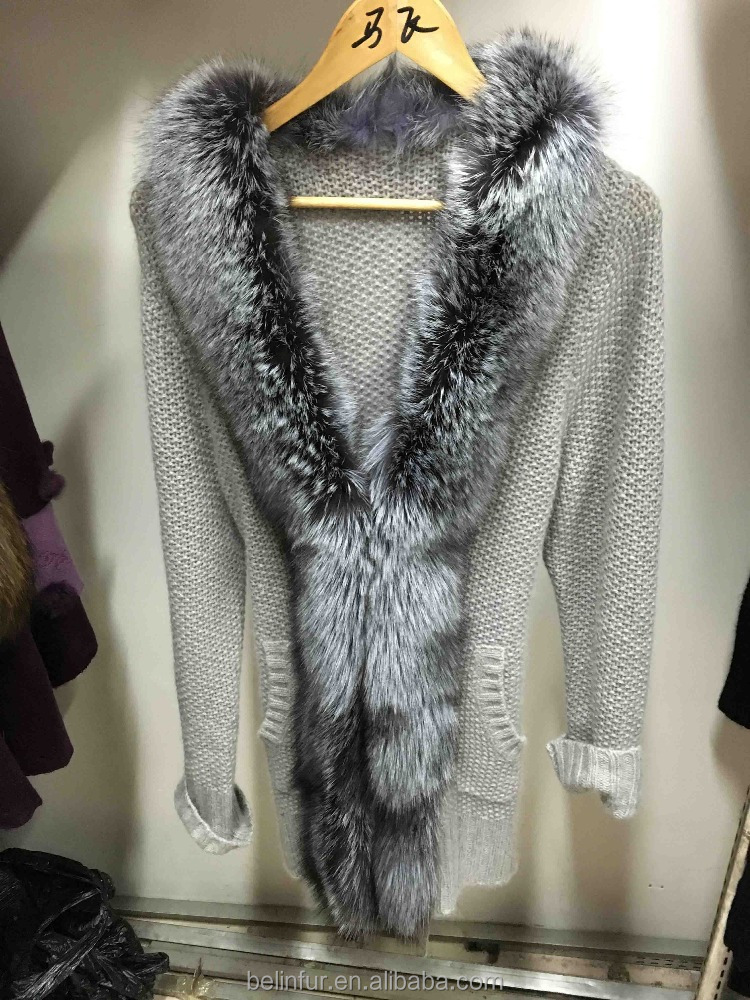 2015 new fashion real sheep fur vest with natural silver fox fur trimming