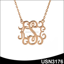 Fashion handcrafted designer fake gold plated monogram necklace