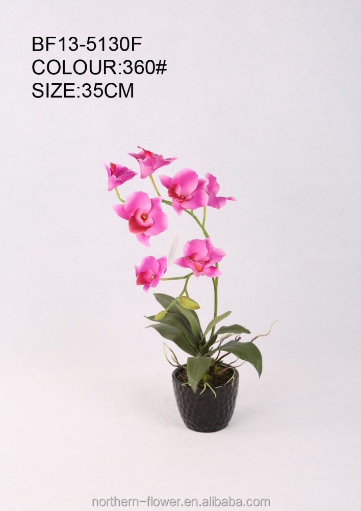 hotsale pure handmade mini pink artificial dendrobium orchid flower wit hceramic pot