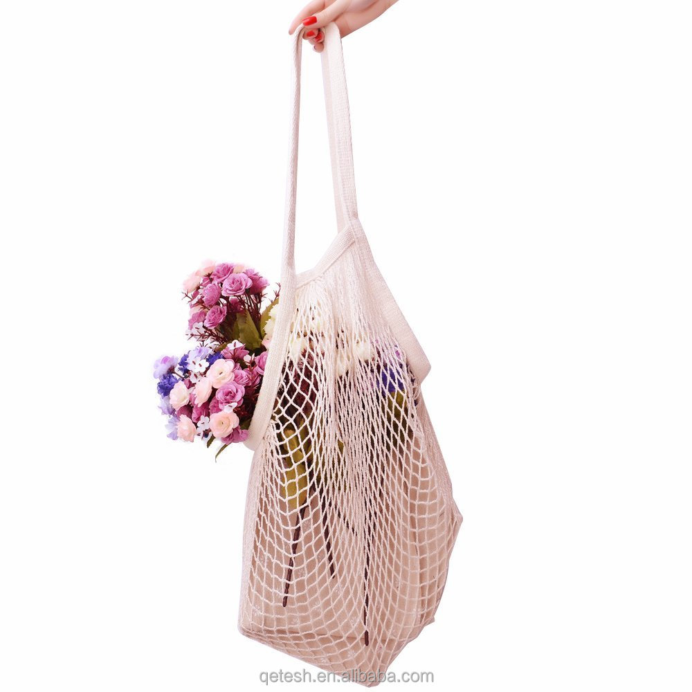 Reusable String Shopping Grocery Bag Shopper Tote Mesh Fruit Net Cotton Bag