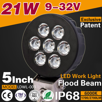 "New Design 5"" 21W 12V 24V 1700lm lowest price Round spot/flood beam off road led lights"