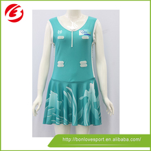 sublimated customized netball dress/panel lycra netball bodysuit