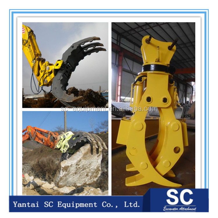 high quality timber log grapple, hydraulic excavator rotating grapple wood grapple