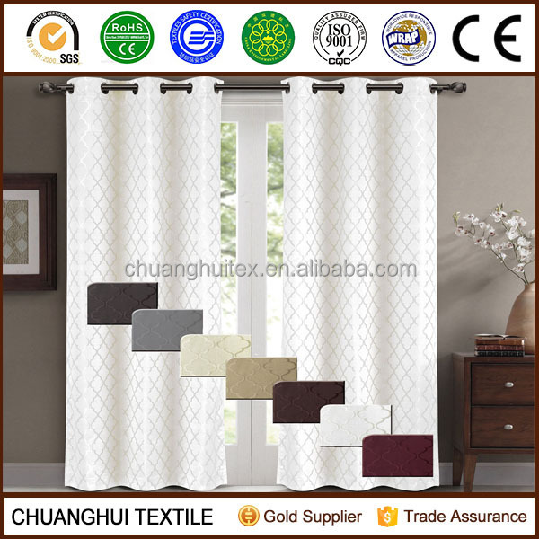 Hot sell New Willow Jacquard blackout thermal insulated white backing curtains