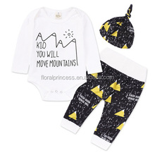 Newborn Infant Baby Girl Boy Tops Romper Pants Hat 3pcs Outfit Set Clothes Mountain Print Long Sleeve Shirt Sets