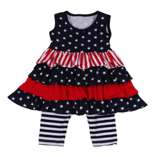2018 Toddler Girls Clothing Sets Wholesale American Girls National Day Outfits 4th Of July Red Blue Clothes