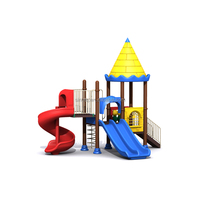 Children play zone outdoor playground equipment with plastic slides
