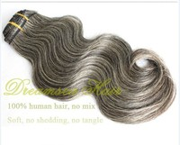 100% virgin human hair brazilian mixed grey wig 70% gray hair with 30% white hair