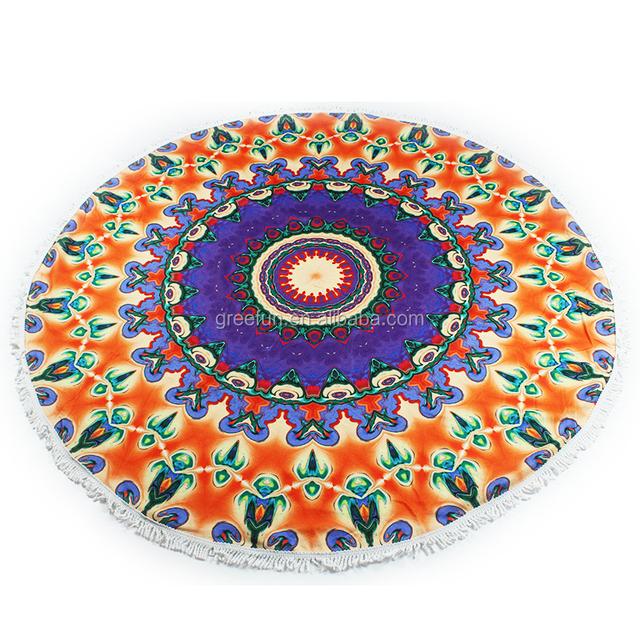 Compressed Round Beach Towel Manufacturer , Turkish Beach Towels , Aztec Roundies Mandala Yoga Mat Table Cover Picnic Mat