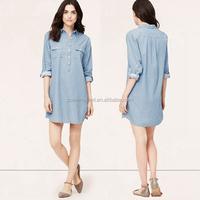 2014 Most Popular Long Sleeve Polka Dot Printed Blue Woman Shirt Dress