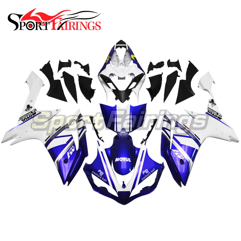 Complete Fairings For Yamaha YZF <strong>R1</strong> <strong>07</strong> 08 ABS Plastic Injection Motorcycle Body Kits FIAT Blue White Moon and Sun Fairing Kit