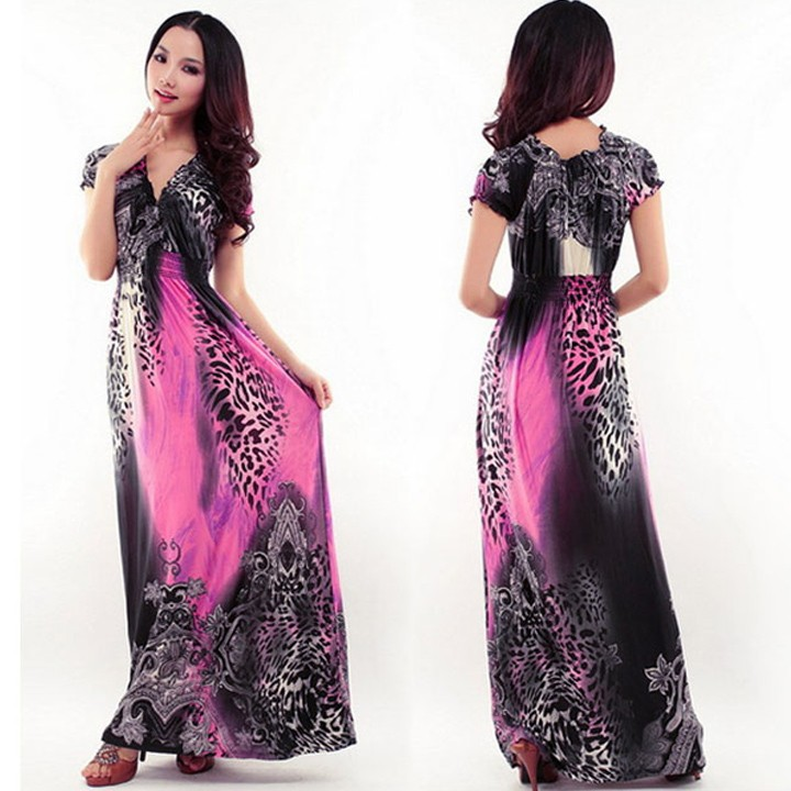 Women Lady Sexy short sleeve Maxi Full-Length Long floral print dress
